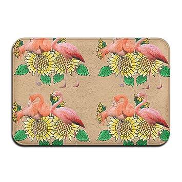 Weichem Rutschfestem Flamingo Sonnenblume Badteppich Coral Teppich