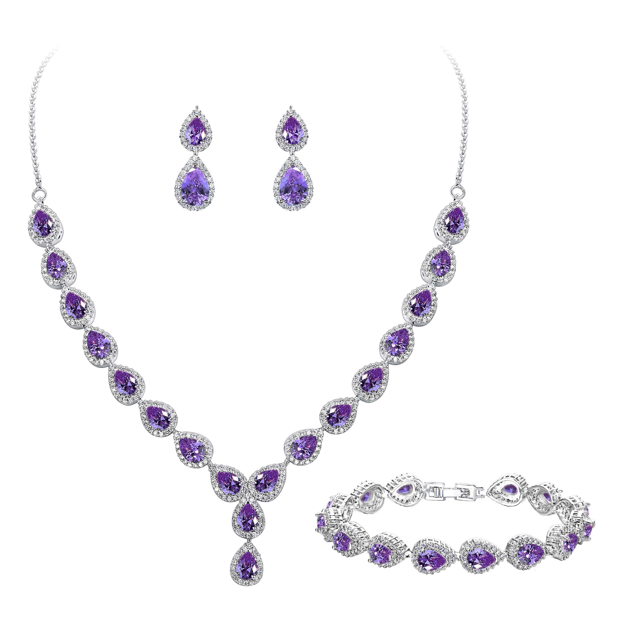 BriLove Women's Wedding Bridal Jewelry Set Y-Necklace Tennis Bracelet Dangle Earrings Set with Teardrop CZ Infinity Figure 8 Amethyst Color Silver-Tone February Birthstone