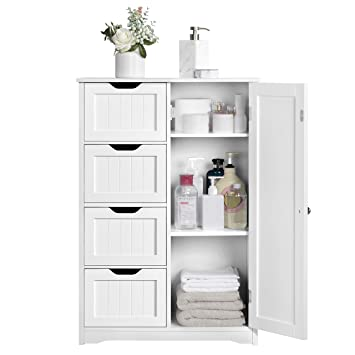 Yaheetech Wooden Bathroom Cabinet Bedroom Storage Units Cupboard Organiser Free Standing Chest Of Drawers Hallway Floor Cabinet 56 1 X 30 1 X 82 Cm