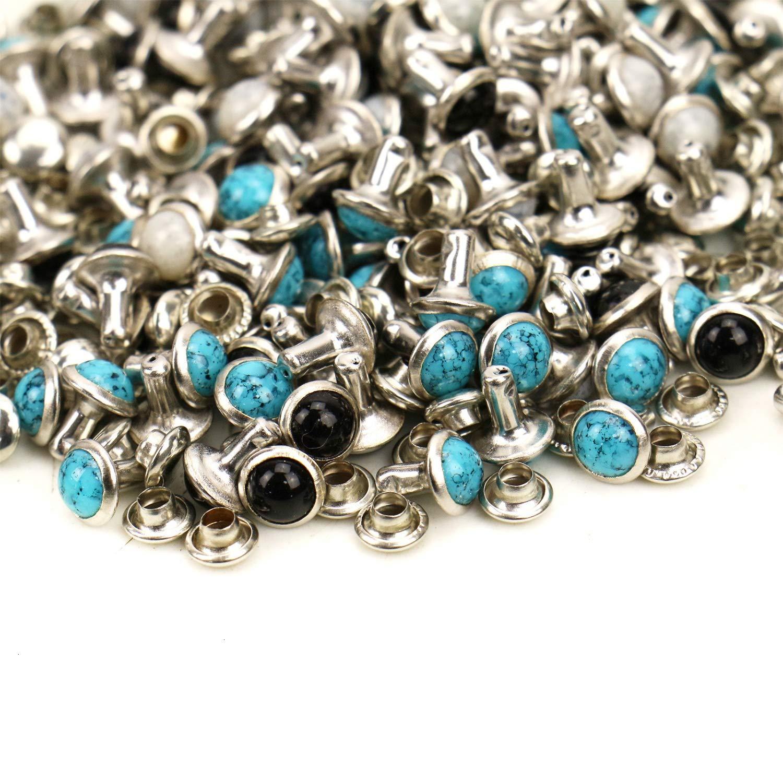 JETEHO 150 Sets Crystal Rapid Rivets Blue Turquoise Spots Studs Double Cap Leathercraft Clothes Accessory Decor, 7 MM