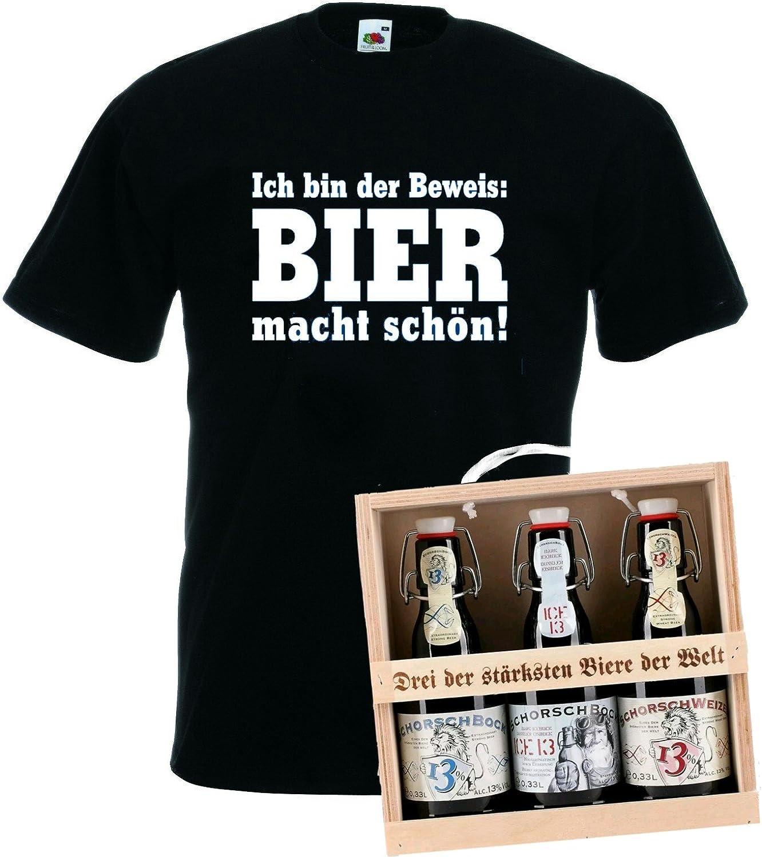 Schorschbräu / Fruit of the Loom pour Hommes Idéal pour T-Shirt & 3de la Plus Bières du Monde dans boîte Cadeau