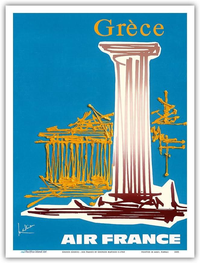 Gr/éce Master Art Print Affiche Ancienne Vintage Companie a/érienne Poster Aviation de Georges Mathieu c.1968 23cm X 31cm