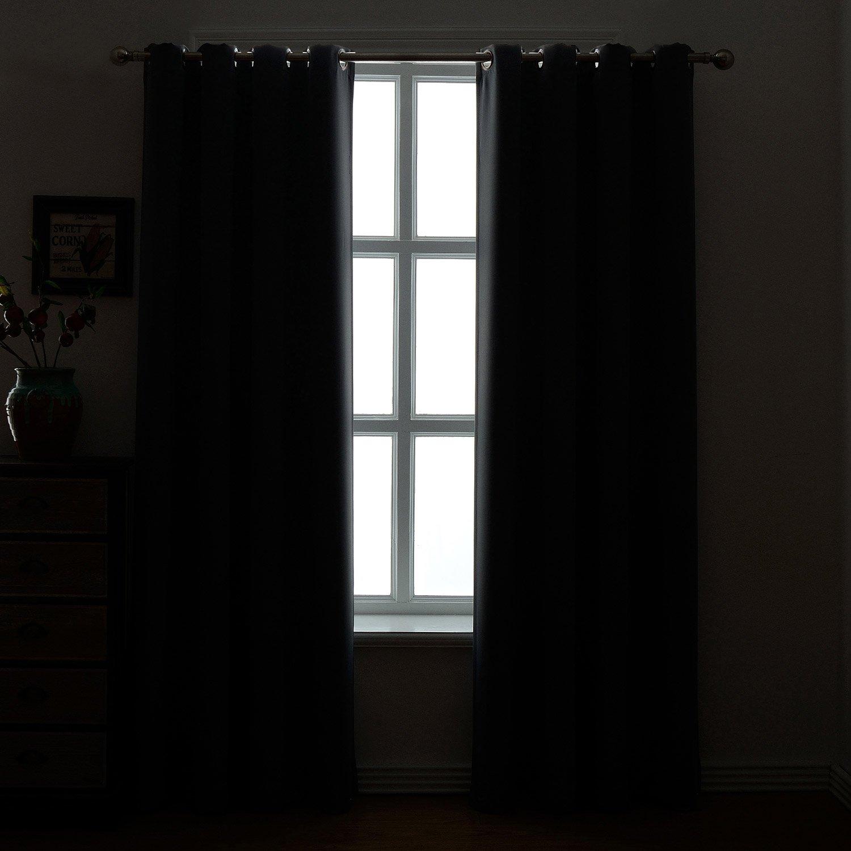 AMAZLINEN 52×84-Inch Grommet Top Blackout Curtains , Charcoal Grey Set of 2