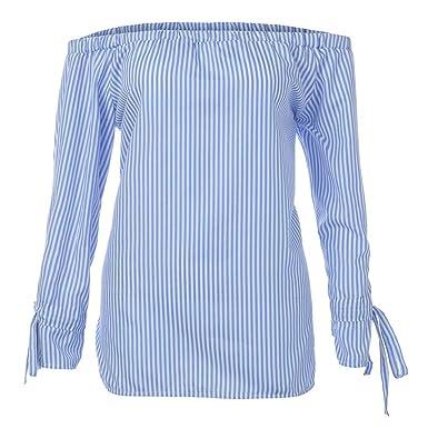 1fe6342aa7b823 Blouse Womens Fashion Long Sleeve Stripe Print Sexy Shirts Off Shoulder Tops  ❤ ZYEE