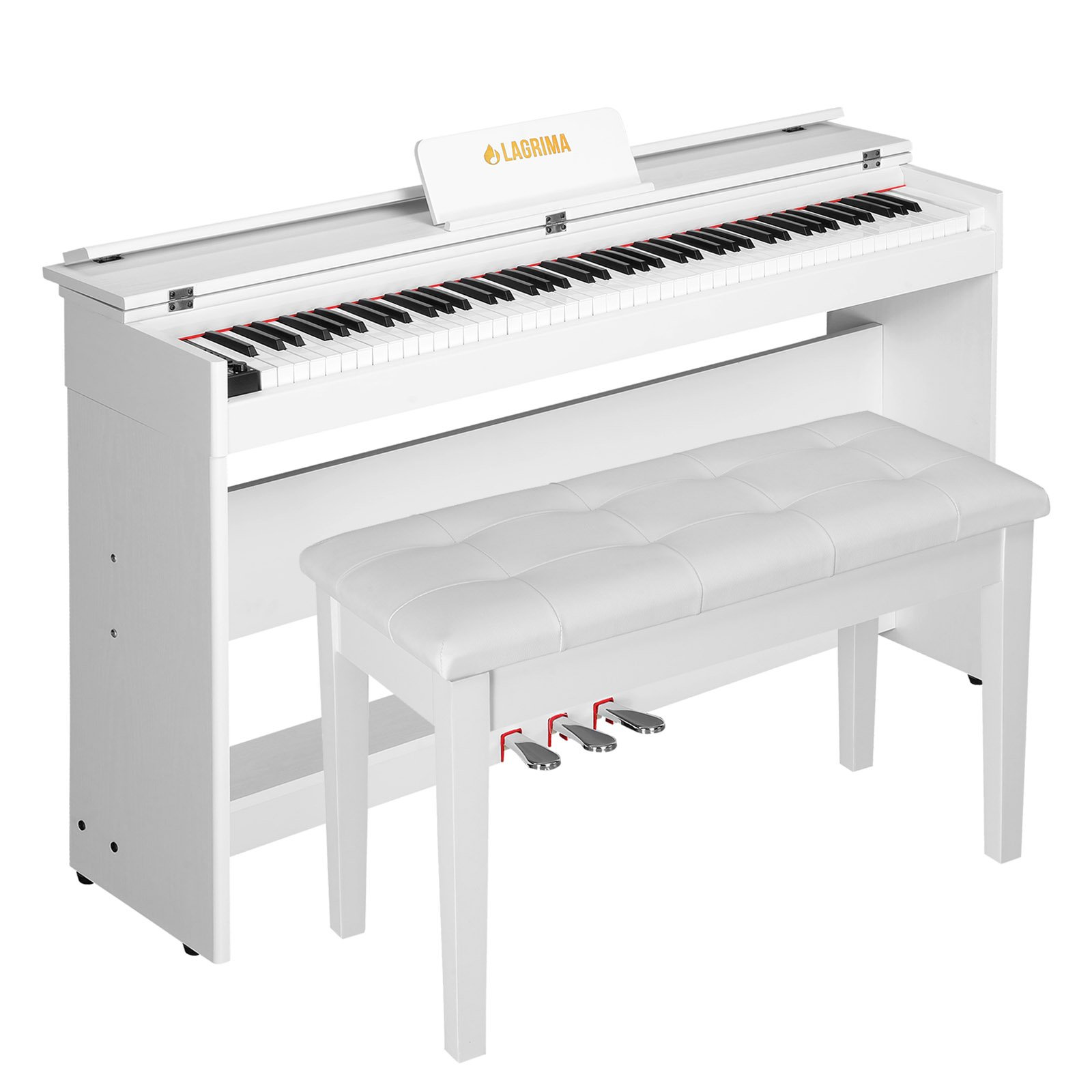 LAGRIMA Digital Piano, 88 Key Electric Keyboard Piano for Beginner/Adults with Padded Piano Bench+Music Stand+Power Adapter+3-Pedal Board+Instruction Book+Headphone Jack(White With 2 Person Bench by LAGRIMA