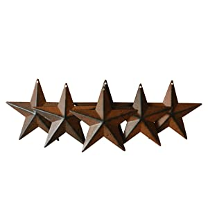 CVHOMEDECO. Country Rustic Antique Vintage Gifts Metal Barn Star Wall/Door Decor, 4-Inch, Set of 6. (Rusty)