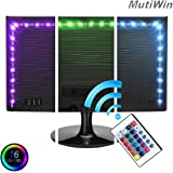 Mutiwin Bias Lighting for TV with Color - Medium (78 in.) - USB-Powered RGB LED Strip with Remote Control, 16 Colors, Dimmer - Adhesive Light Rope for HDTV, Desktop Monitors