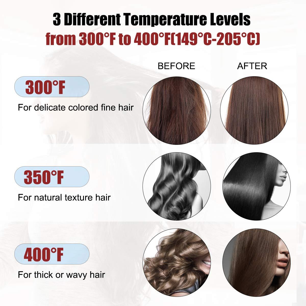 Hair Straightener Brush with Anion Ceramic Iron, HONGNAL Anti-Scald Straightening Comb Fast Heating Long Beard Straighteners Brush with Auto-Off,110-240V,3 Level Temperature,Digital Controls