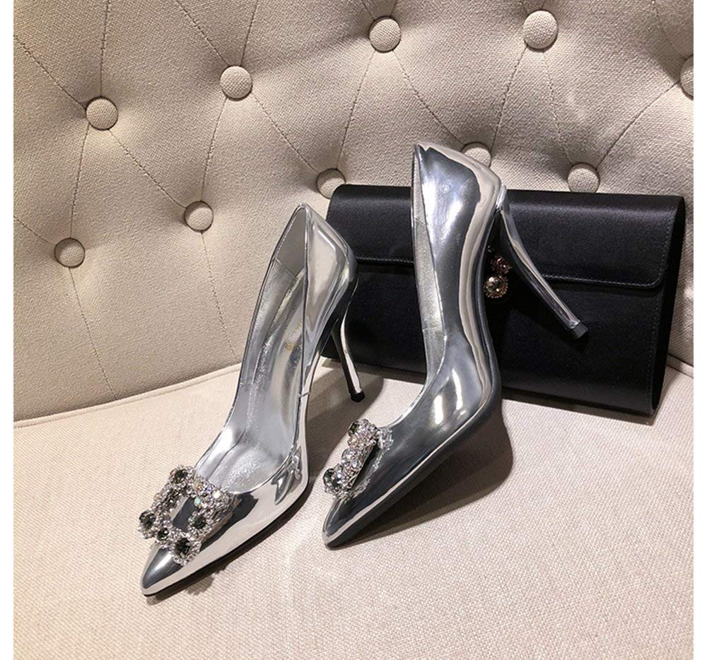 Moontang Schuhe 10cm Silber Satin Strass Mund Spitzen Heels Frauen Singles Flacher Mund Strass Quadrat Schnalle Wild Dinner High Heels (Farbe   Silber Größe   35 EU) 93b21e