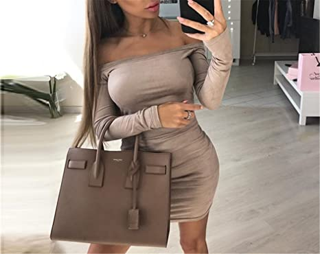 7821c9a14834 Angelia Daugh Long Sleeve off shoulder Women Suede Dress NEW Autumn Winter  Female sexy mini party