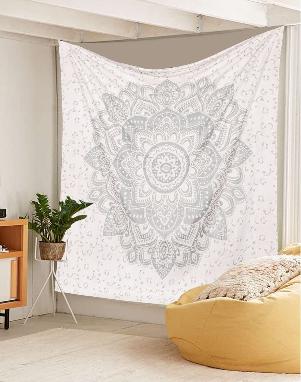 Exclusive Orignal Silver Ombre Tapestry by Labhanh, Mandala Tapestry, Queen Indian Mandala Wall Art Hippie Wall Hanging Bohemian Bedspread,