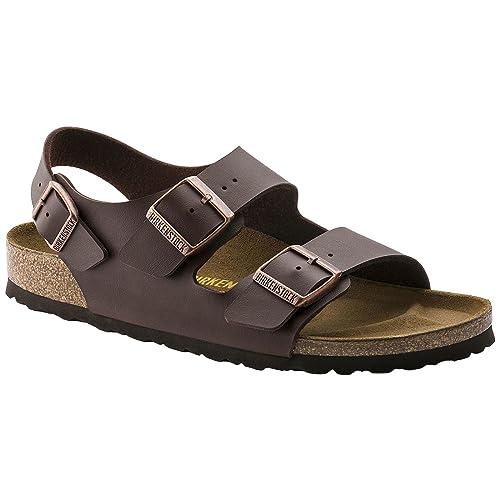 4df8fe05031d4 Birkenstock Milano Sandals Birko-Flor Regular Width Dark Brown