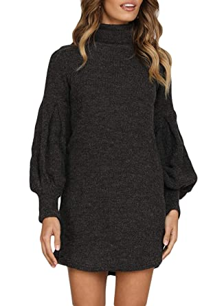 db58511bef Azokoe Sweaters Dress for Women Winter Casual Slim Fit Corduroy High Neck  Pullover Cable Knit Sweater