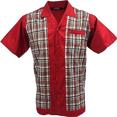 Rockabilly Fashions - Camisa de bolos para hombre, estilo retro, talla S a 3XL, estilo retro, color rojo, negro y blanco: Amazon.es: Ropa y accesorios