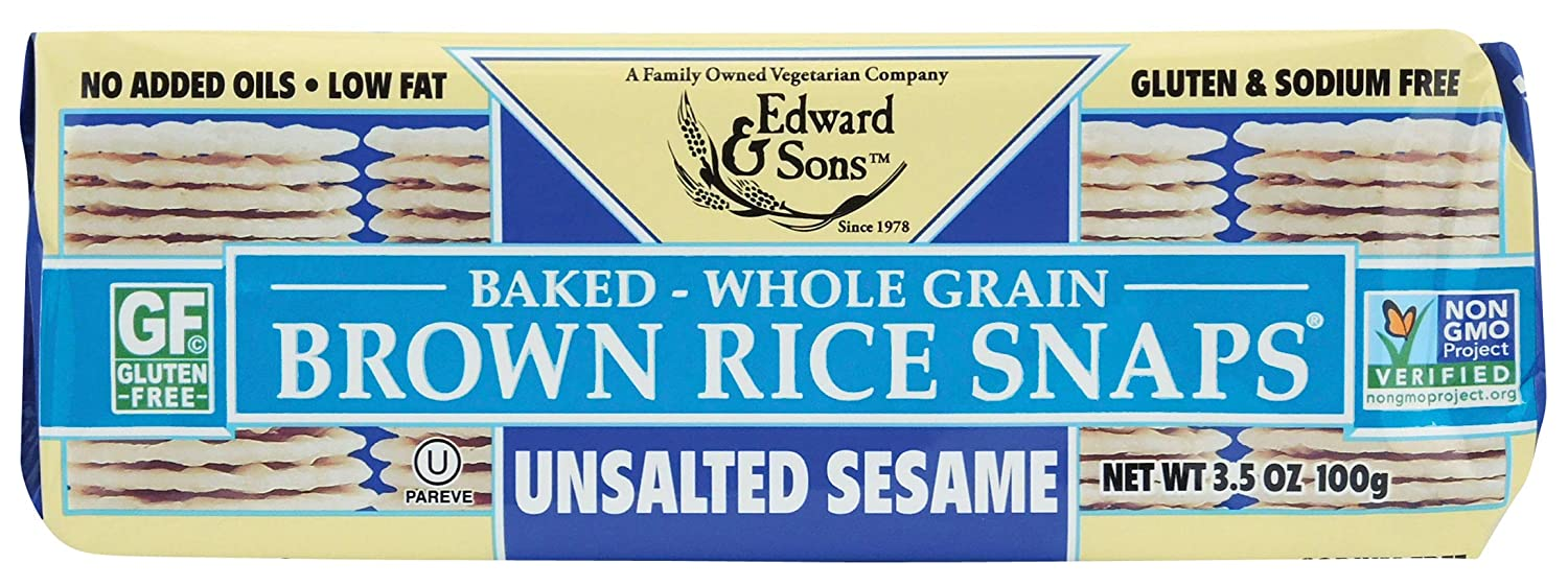Brown Rice Snaps, No Salt Sesame, 3.5-Ounce Packs (Pack of 12)