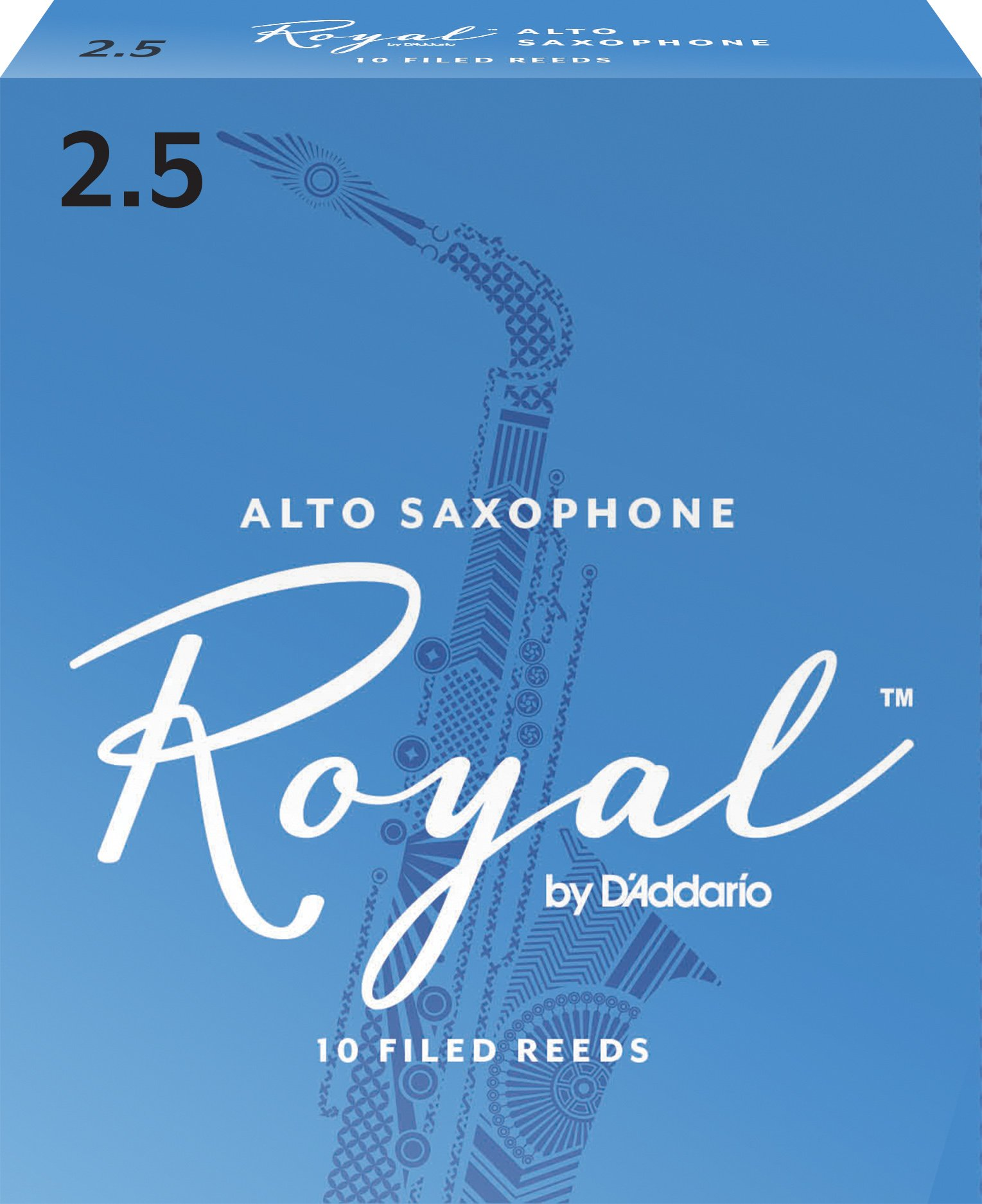 Royal Alto Sax Reeds, Strength 2.5, 10-pack by D'Addario Woodwinds