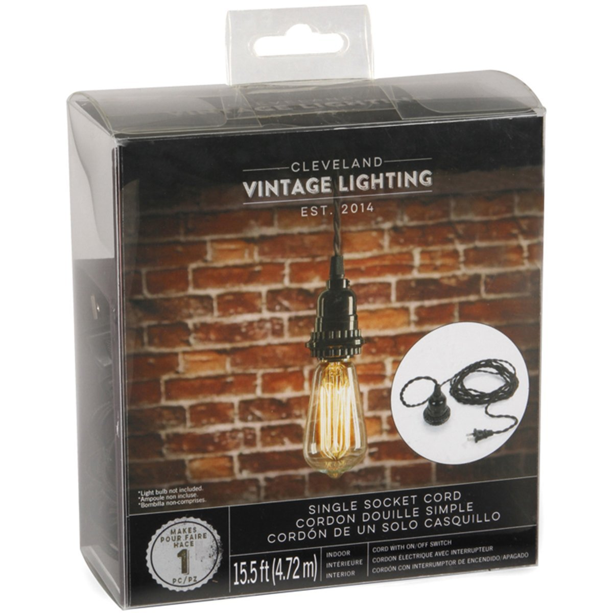Amazon.com: Cleveland Vintage Lighting CLV121 Single Socket Cord, Black, 15.5 feet: Home & Kitchen