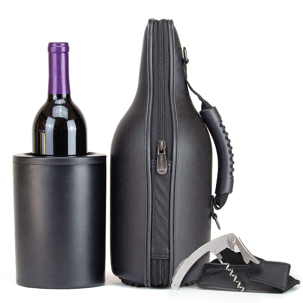CaraVino Leather Wine Tote Gel-Infused Chiller, Handle, Bottle Opener & Shoulder Strap by ChillnJoy