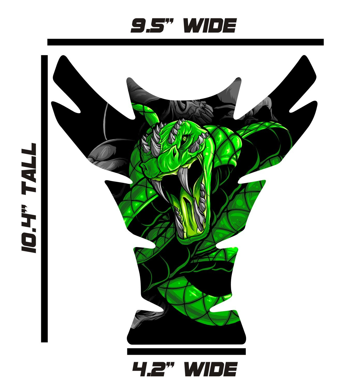 Large Universal Venom Snake Green 3D Gel Sportbike Motorcycle Gas Tank Pad Tankpad Protector Guard