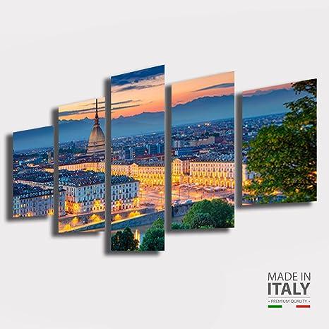Quadri Moderni soggiorno TORINO citta città alba tramonto 200x100 cm 5  pezzi XXL Stampa su Tela quadro moderno arredamento Arredo Salotto Camera  da ...