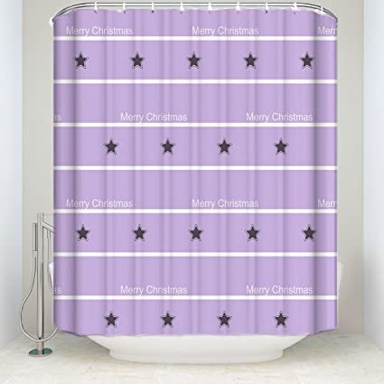 Prime Leader Striped Shower Curtain Stripes Background With Merry Christmas And Star Digital Printed