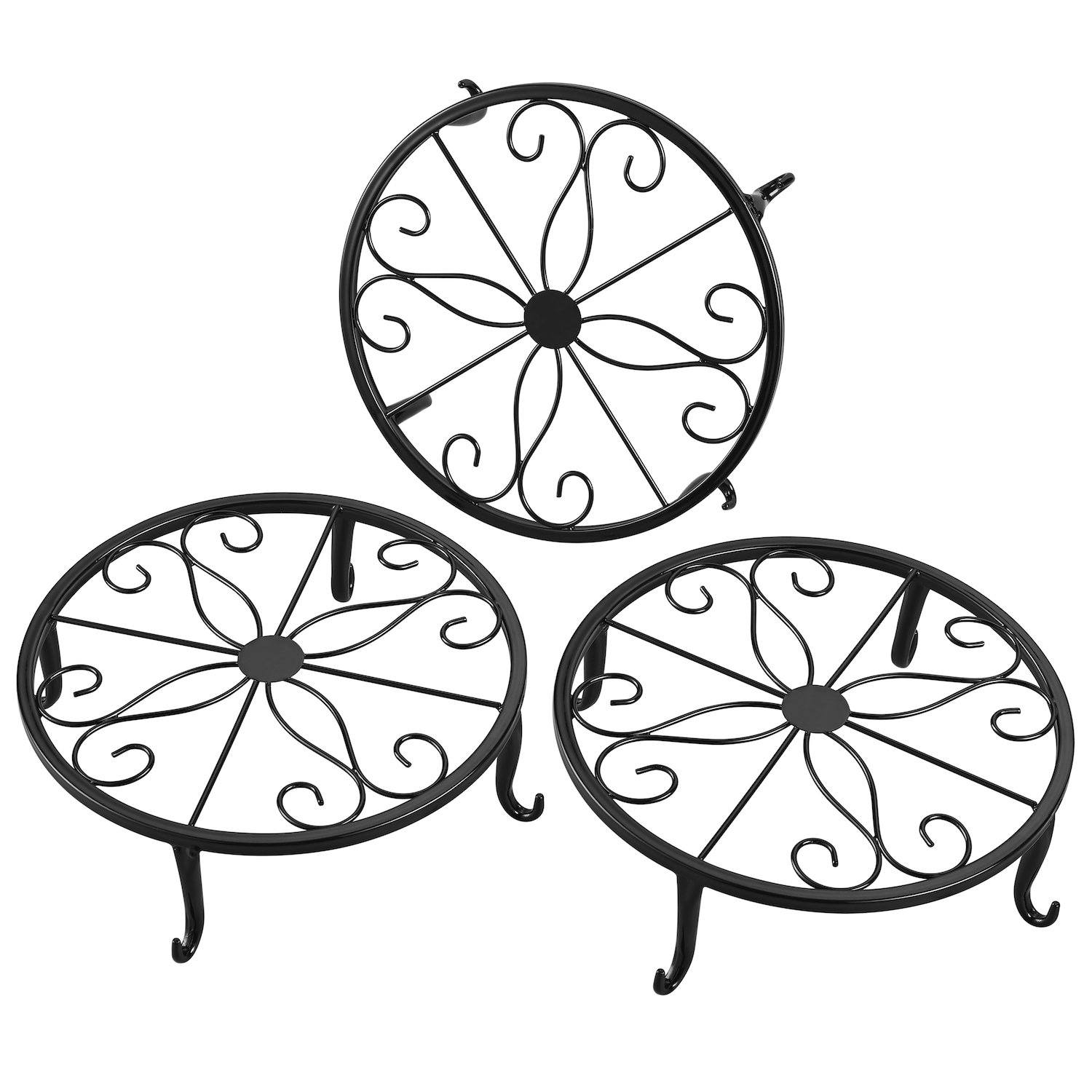 FaithLand Metal Potted Plant Stand, Pot Holder, Decorative Pot Trivet, 9 inch, Black, Set of 3 by FaithLand