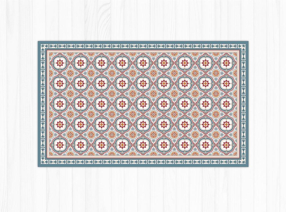 Vinyl floor mat with spanish blue tiles pattern. linoleum area rug, PVC floor mat.