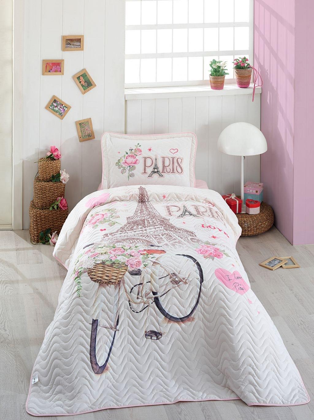 Bekata Paris Love, 100% Cotton Single/Twin Size Bedspread/Coverlet Set, Paris Bedding Set, Eiffel Tower Themed, Pink White 2 PCS