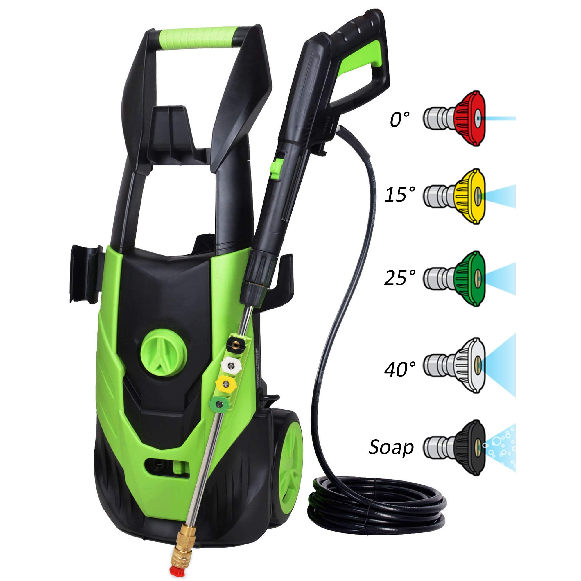 PowRyte Elite 3500 PSI 1.80 GPM Electric Pressure Washer, Power Wash Machine with 5 Quick-Connect Spray Tips, Electric Power Washer-Green