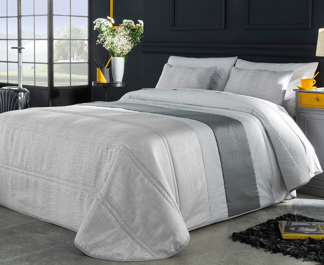 textilonline–Couvre-lit bouti Dion Cama 90 cm. Couleur grise