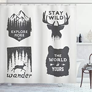 Ambesonne Saying Shower Curtain, Wilderness Emblems Stay Wild Wander The World is Your Arrow Pine Wildlife Animals, Cloth Fabric Bathroom Decor Set with Hooks, 75