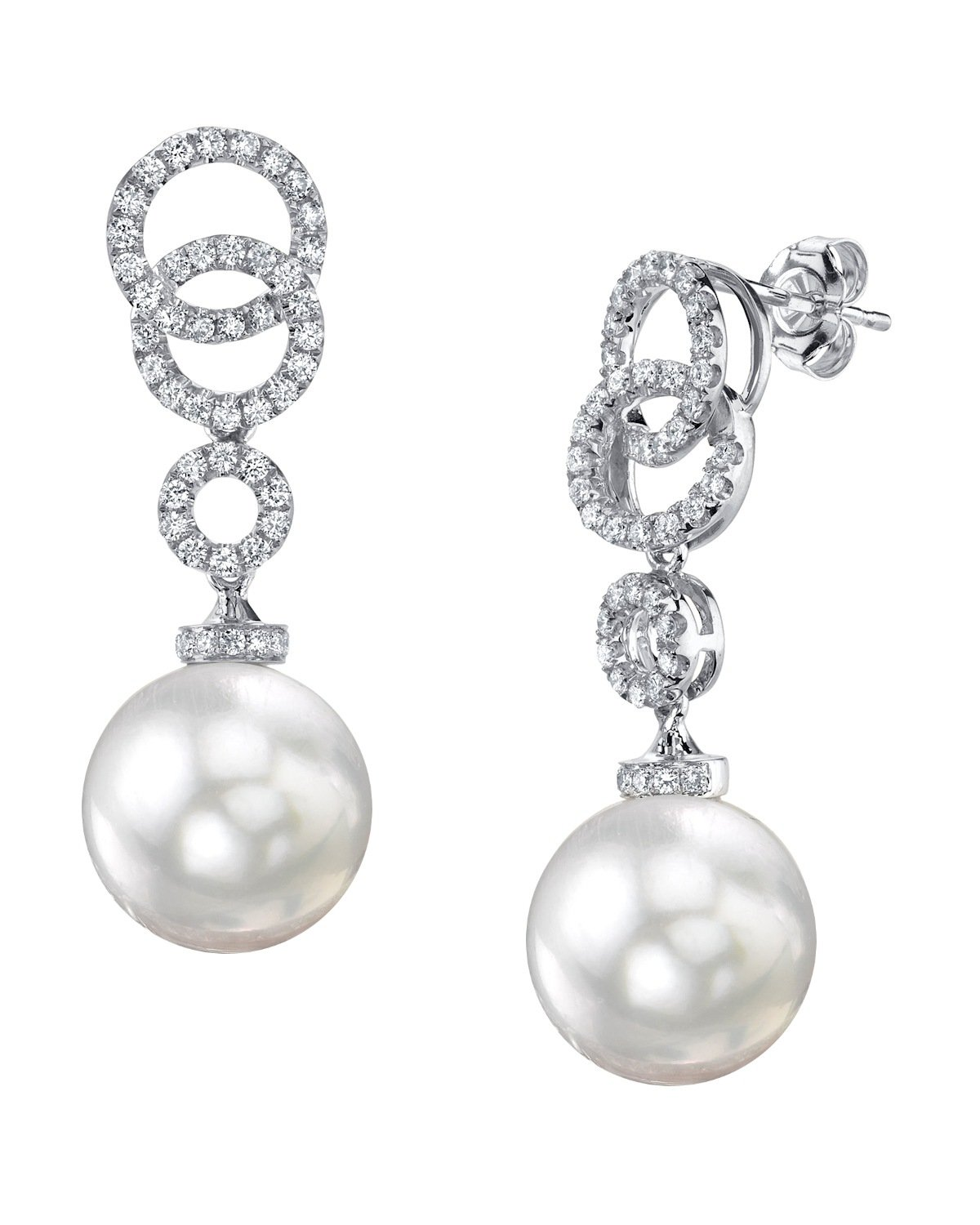 18K Gold 12mm White South Sea Cultured Pearl Diamond Link Earrings