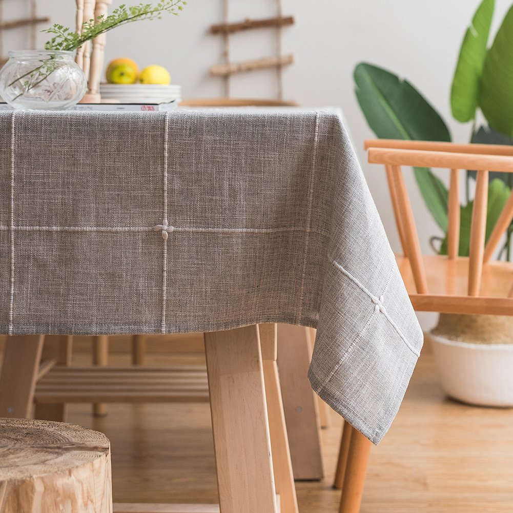 ColorBird Solid Embroidery Lattice Tablecloth Cotton Linen Dust-Proof Table Cover for Kitchen Dinning Tabletop Decoration (Rectangle/Oblong, 52 x 86 Inch, Gray)