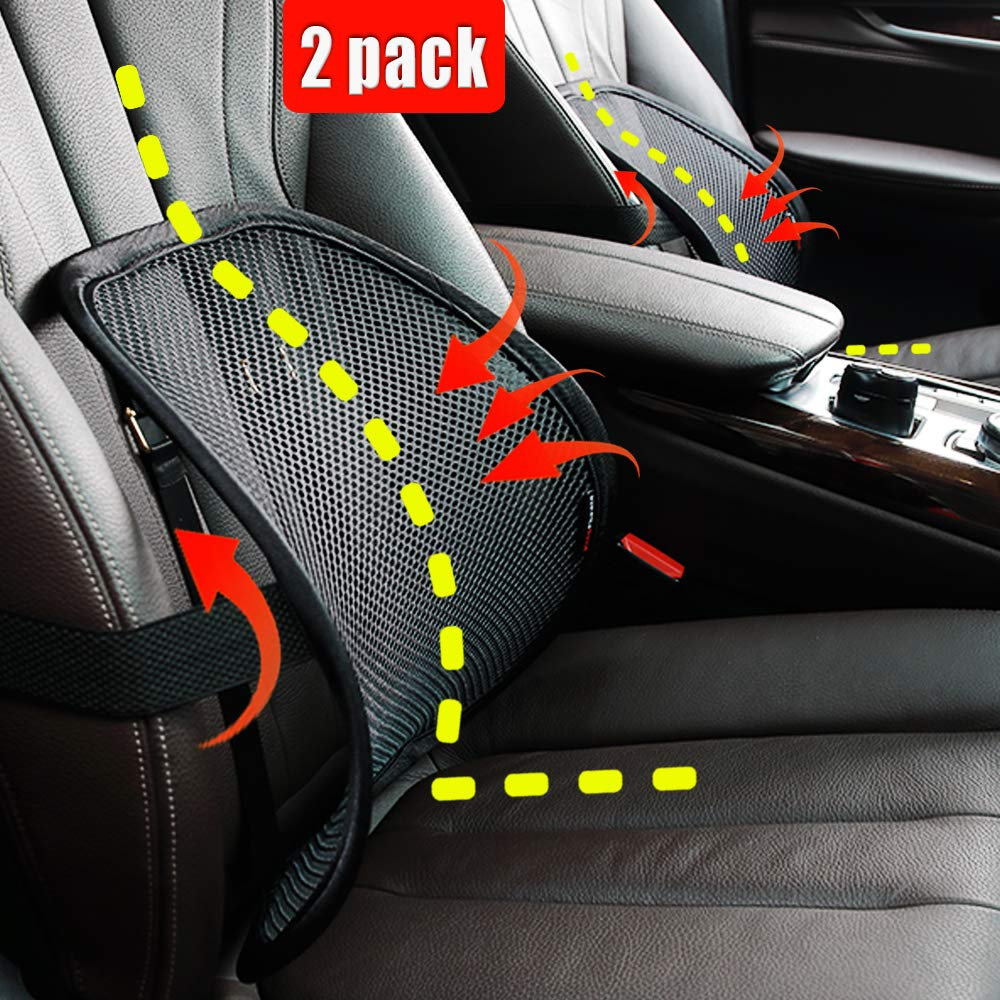 Lumbar Support, Car Lumbar Support with Double Breathable Mesh, Back Lumbar Support for Car and Office Chair (Black 2 Pack) by Bangled