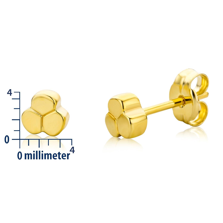 Pendientes de oro amarillo de 9 quilates sin gema con cierre de mariposa a presi/ón Miore