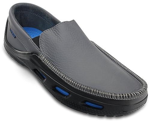 Crocs Tideline Sport Leather - Mocasines, color Charcoal, talla 47.5: Amazon.es: Zapatos y complementos