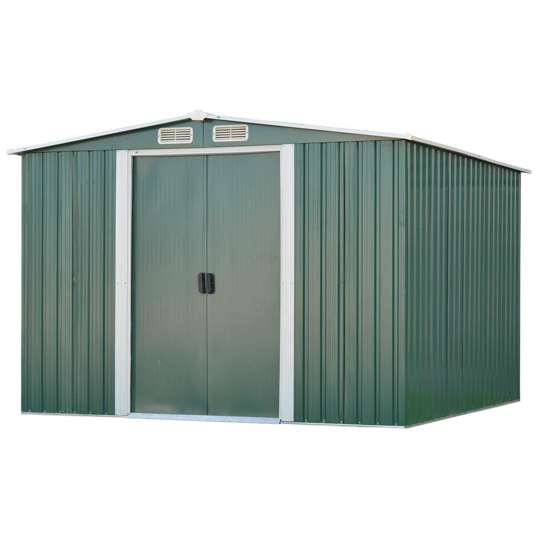 LSL 8x8 ft Outdoor Storage Sheds Heavy Duty Garden Yard Storage Tool House Steel White LEISURELIFE