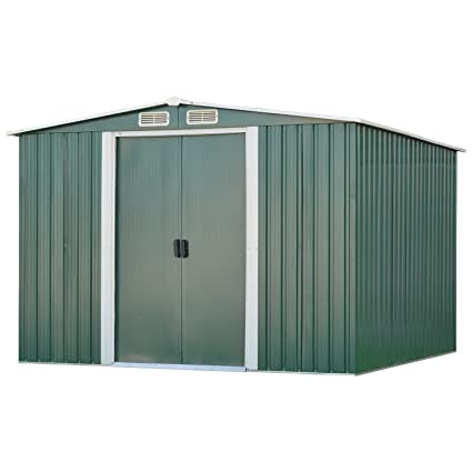 Ainfox 8FT X 8FT Steel Shed Tools Storage, Utility for Outdoor Garden  Backyard Lawn Warm Green