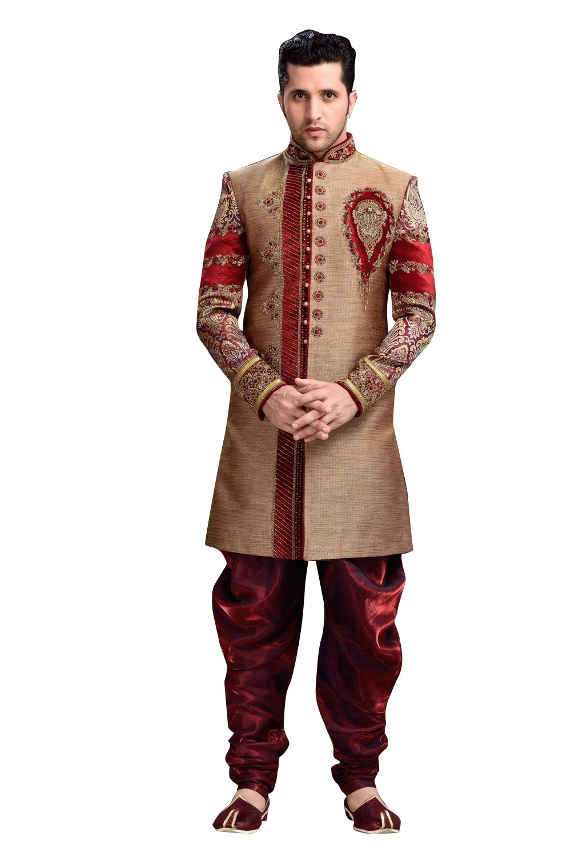 Fancy Tan Brown Art Silk, Brocade Jamawar And Velvet Indian Wedding Sherwani For Men by Saris and Things