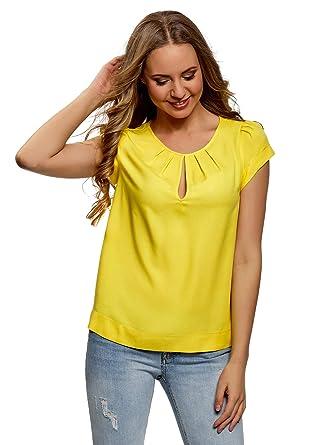 oodji Collection Donna T-Shirt con Maniche Lunghe Senza Etichetta