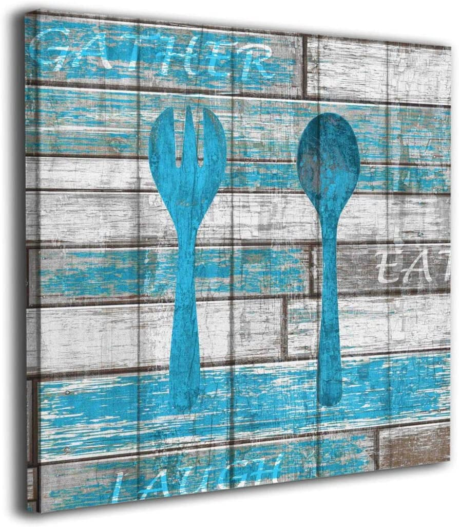 Kingsleyton Blue Gray Rustic Spoon Fork Modern Painting Big Framed Wall Art Picture Print On Canvas The Giclee Artwork for Home Decor and Office Decorations 16