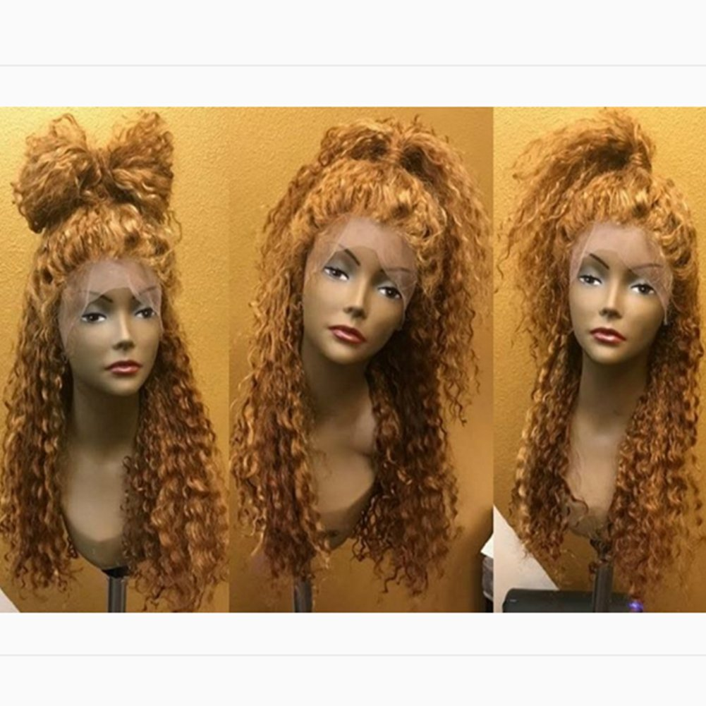 Curly Human Hair Full Lace Wigs 130% Density Brazilian Deep Curly Lace Frontal Wig for Black Women Color #27 (16'', lace frontal wig)