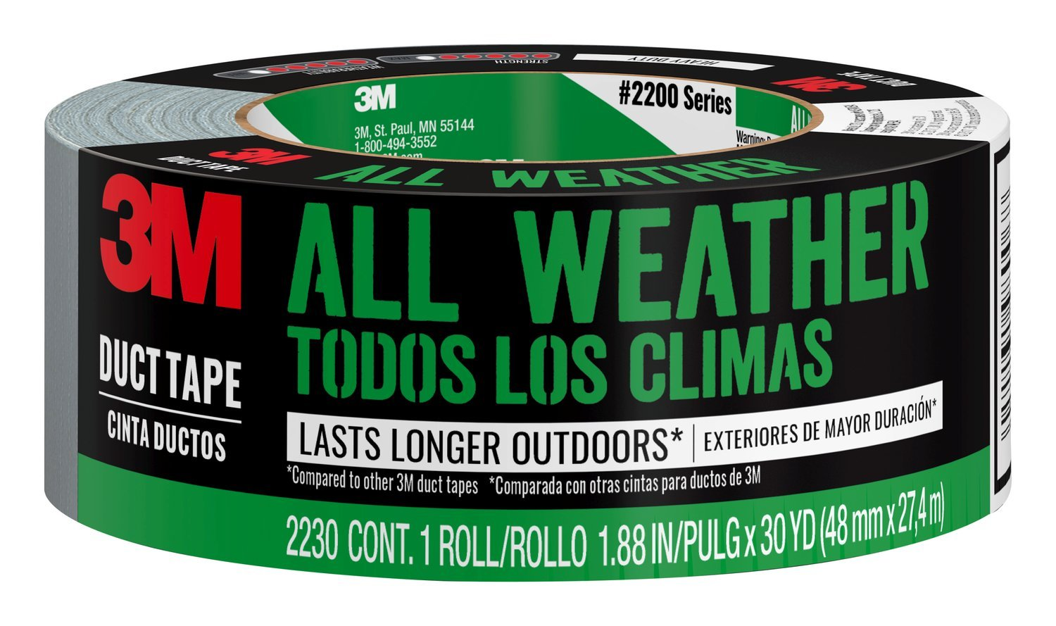 3M All Weather Duct Tape, 2230, 1.88 Inches by 30 Yards