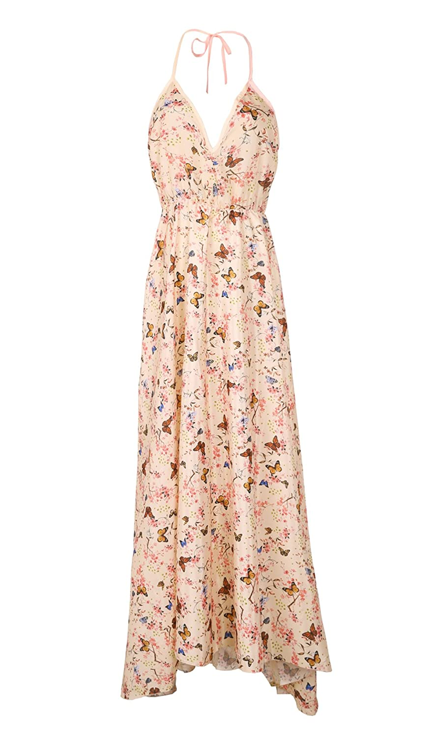 a9f35e1df0 Amazon.com: Imcute Women Casual Dress One Piece Halterneck Floral Butterfly  Maxi Dresses for Beach: Clothing