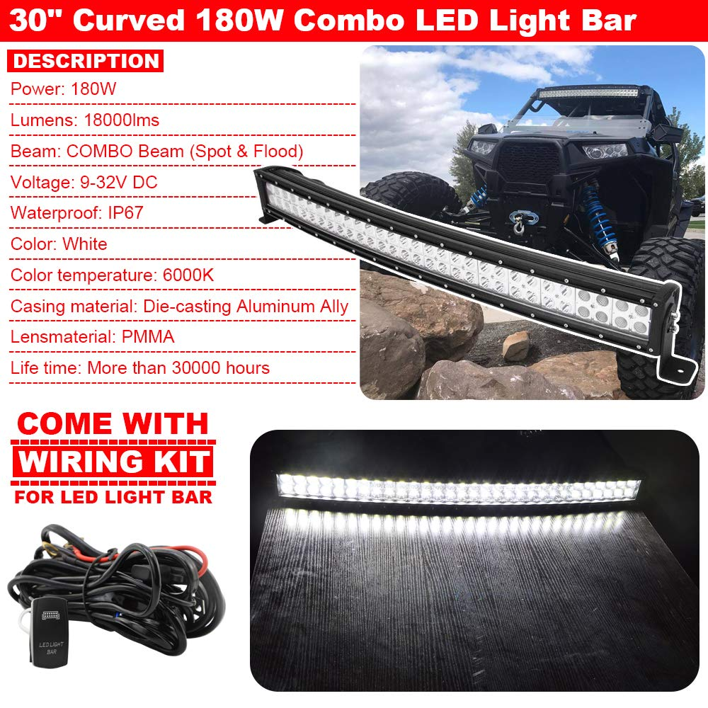 30 180w Curved Combo Led Light Bar Wiring Kit W Below Do I Need A Harness For My Free Download Roof Mounting Brackets Fits Polaris Rzr Xp 1000 900 Models Automotive