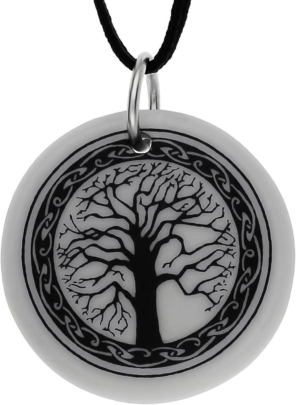 Pendentif celtique en porcelaine ronde fait main arbre de vie