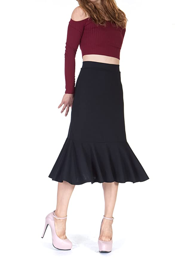 Retro Skirts: Vintage, Pencil, Circle, & Plus Sizes Danis Choice Flowy Elastic Waist Frilled Hem Fish Tail Mermaid Flared Midi Skirt $16.95 AT vintagedancer.com