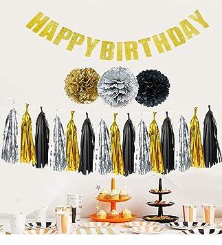 Set Completo Decoraciones Fiesta de Cumpleaños Negro ...