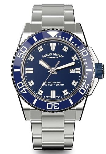 Brazalete automático de acero inoxidable para hombre Armand Nicolet, pulsera JS9 azul A480AGU-BU-MA4480AA: Amazon.es: Relojes