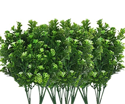 CATTREE Artificial Plants, Faux Plastic Bean Flowers Shrubs Fake Grass  Leaves Simulation Greenery Bushes Indoor